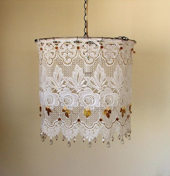 Simply White Lacy Hanging Lamp Shade by AnatBon on Etsy