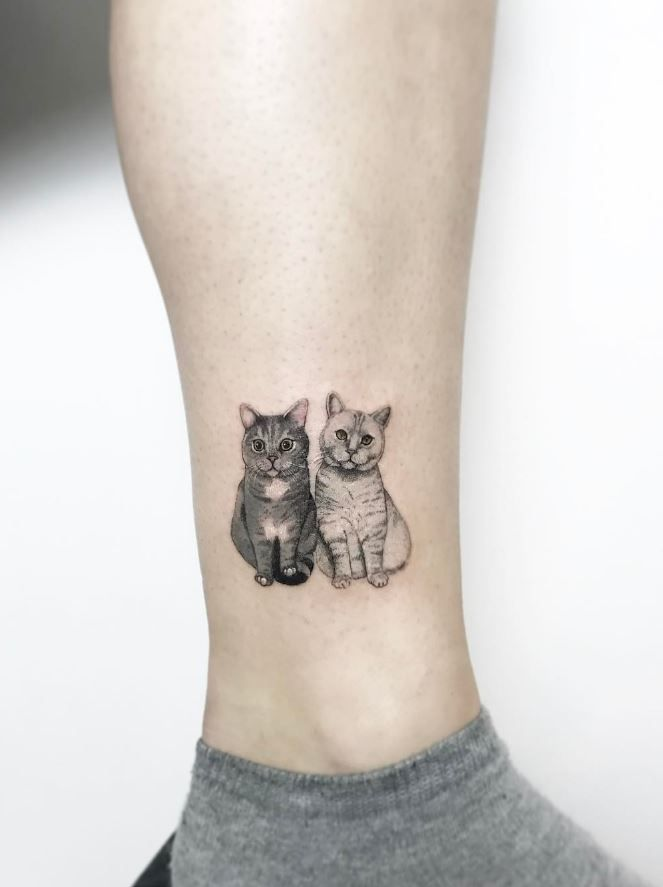tiny cats tattoo