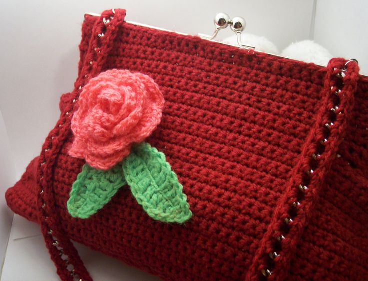 Crochet purse (clutch) with a broach a crochet flower - pinned by pin4etsy.com