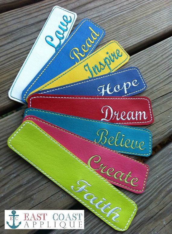 MOTIVATIONAL BOOKMARKS machine embroidery by EastCoastApplique