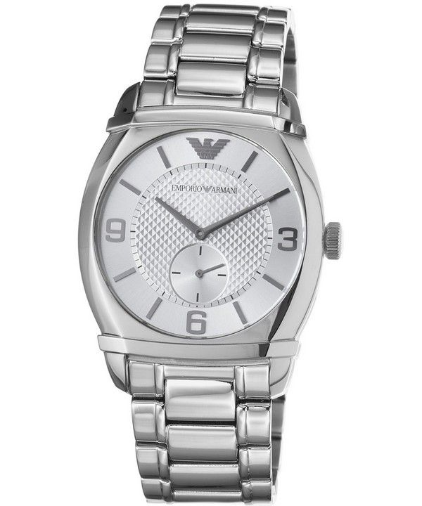Emporio Armani Classic Silver Textured Dial AR0339 Mens Watch