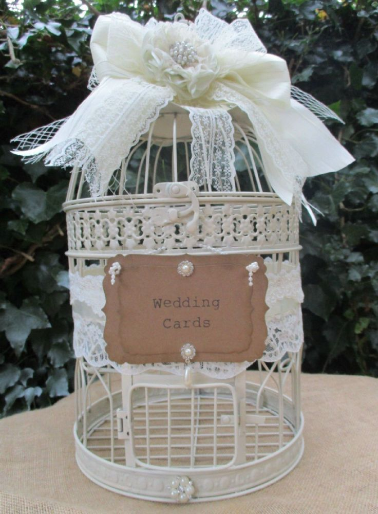 wood wedding card holders%0A Round Metal Vintage Style Birdcage Wedding Card Holder Post Box Decorated  with a ribbon lace bow