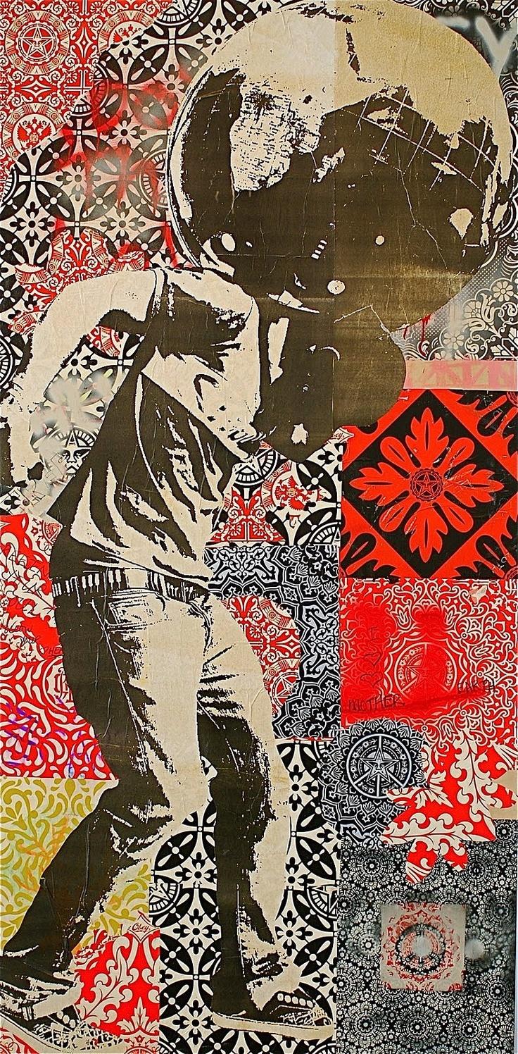 Shepard Fairey - collage, colour, figure.