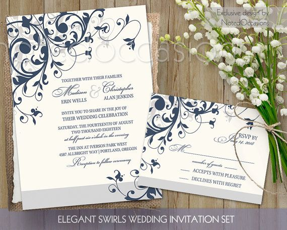 Blue wedding invitations suite featuring a beautiful floral background with fourishes of navy blue and warm gray creating lovely romantic wedding invitations. A romantic swirl flourish wedding se tthat is great for romantic wedding venues, summer and spring weddings, fall weddings and luxuriou wedding locations. All text will be customized with your wedding wording once the purchase has been made. ALL COLORS CAN BE CHANGED AT NO ADDITIONAL COST.