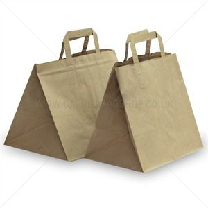 Brown Patisserie Carrier Bags with Flat Handles from Carrier Bag Shop, Take Away Style Paper Carrier Bags.