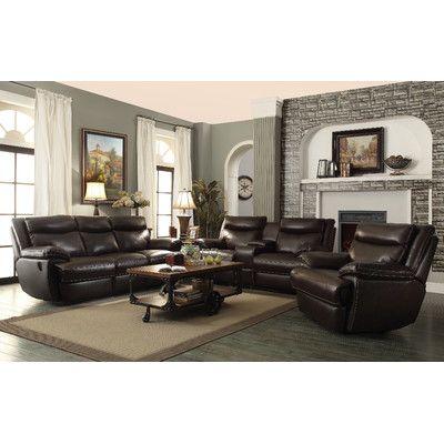 Red Barrel Studio Hughes Power Leather Reclining Sofa