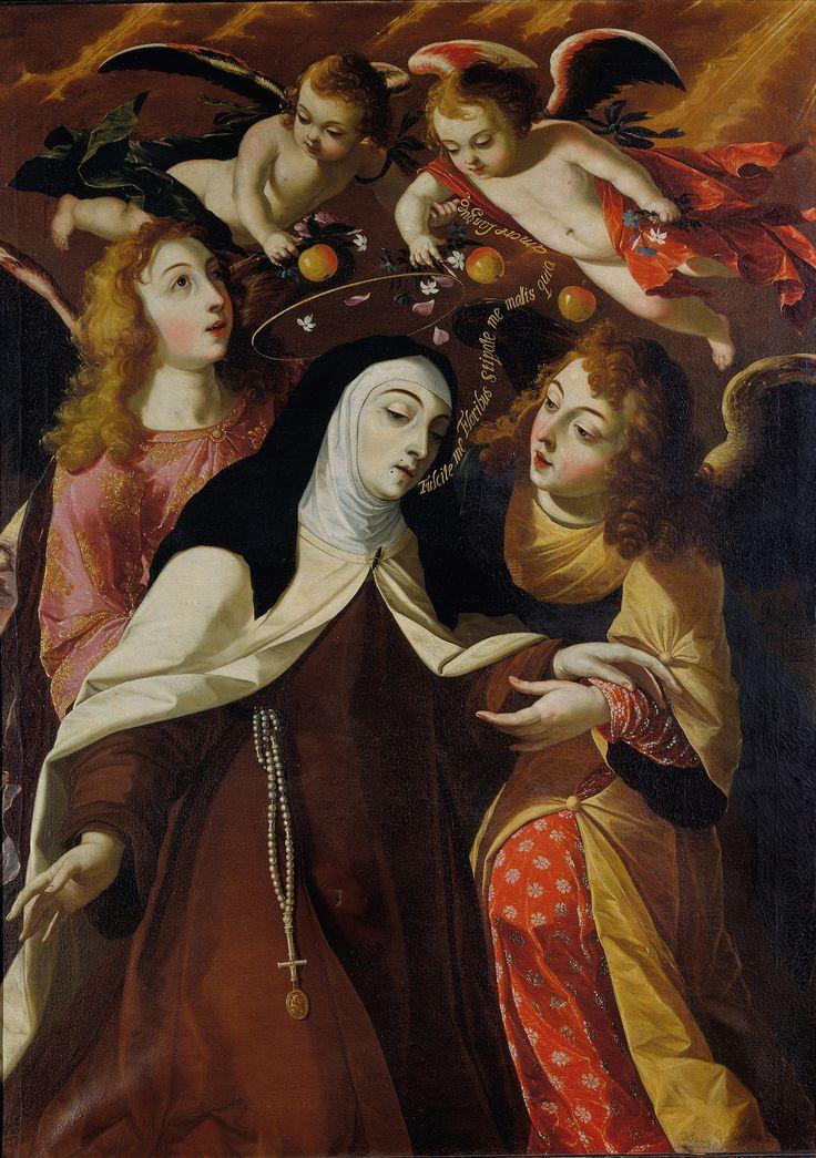 """""""St. Teresa of Avila, Mystic Spouse of Christ"""" (1672) Oil on canvas, 158,5 ~ 113 cm, Collection Parish of Cascais, Josefa de Óbidos"""