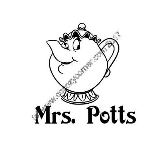 Mrs potts beauty and the beast appliance decal silhouette curioelectric pressure cookerinstant