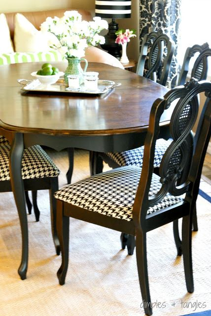 paint table base and chairs, destain table top.  like the fabric too: