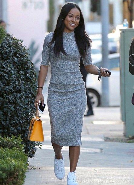 Dress Bodycon Dress Karrueche Midi Dress Knitwear Sneakers
