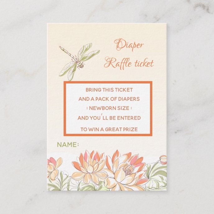 Lotus Flower And Dragon Fly Diaper Raffle Enclosure Card
