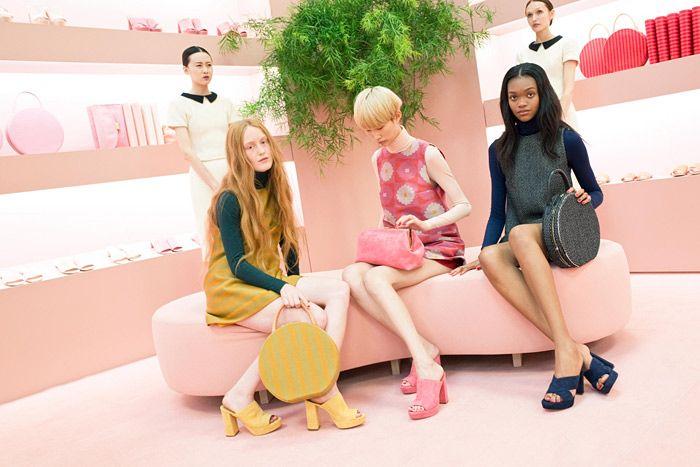 Mansur Gavriel Presentation: While the models sported shoes from the debut collection, the bags were displayed on custom shelves that ran the entire span of the bilevel space. The mod, Pepto-Bismol pink venue served as both a presentation and a Fashion Week respite with bar service.