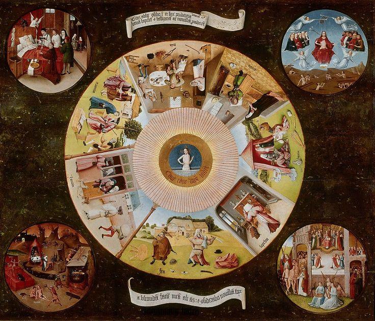 Иероним Босх 15-16 век. Голландец. Северное Возрождение: Семь смертных грехов и четыре последние вещи (мастерская или последователь)