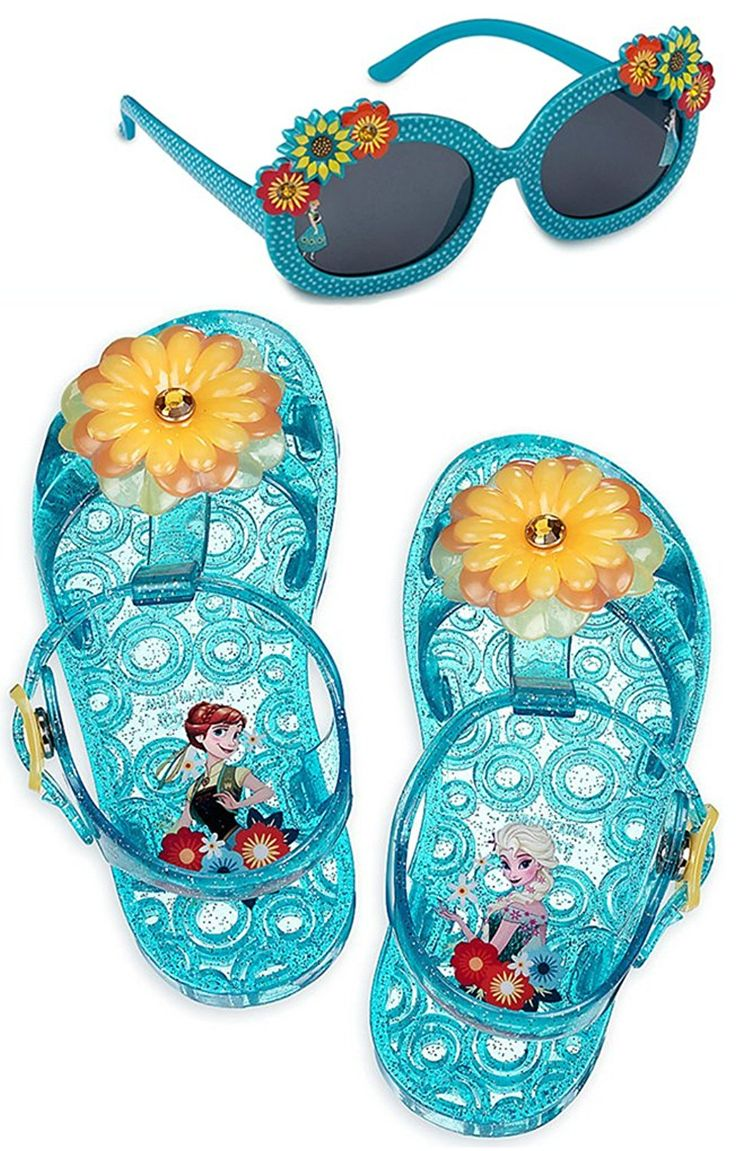 Disney Store Girl's Frozen Anna and Elsa Jelly Sandals and