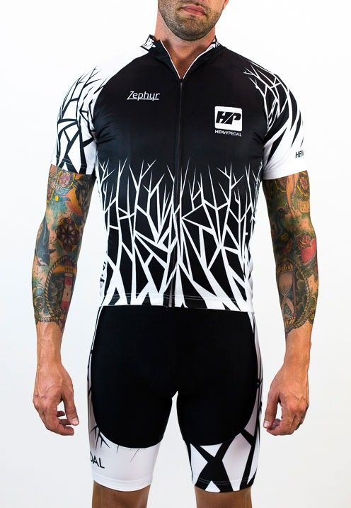 Zephyr Jersey Black and White - The Heavy Pedal The Heavy Pedal