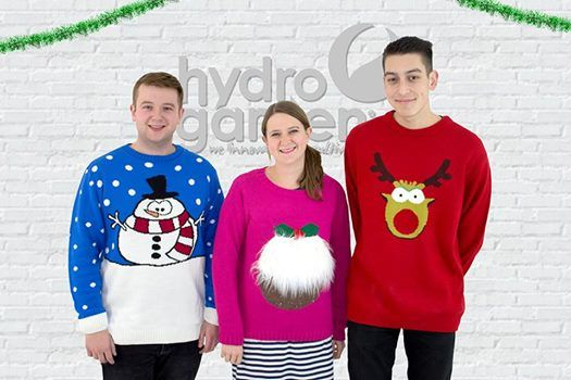 We're encouraging our team to participate in #XmasJumperDay to raise money for Save the Children charity. See our team members Alex Davis, Jen McFall and Harry Wareham who have already dug out their favourite Christmas Jumpers for the occasion! http://www.hydrogarden.com/news/382-hydrogarden-jumpers-at-the-chance-to-help-raise-funds-for-save-the-children/