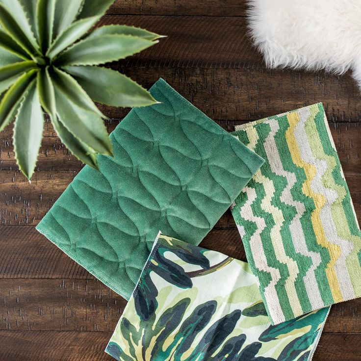 Dark green decorating trend - mixing greens and pairing them with brown. Custom order accent fabrics