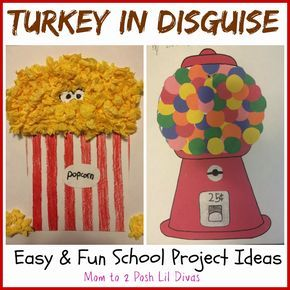easy and fun turkey in disguise projects - a popcorn tub & gum ball machine!