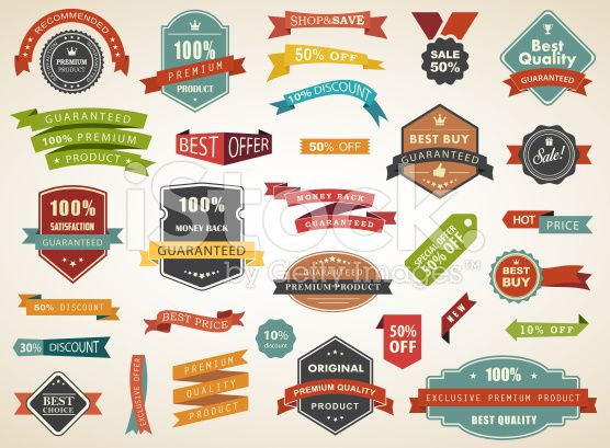 Vintage Vector Set of  Label Banner Tag Sticker Badge royalty-free stock vector art