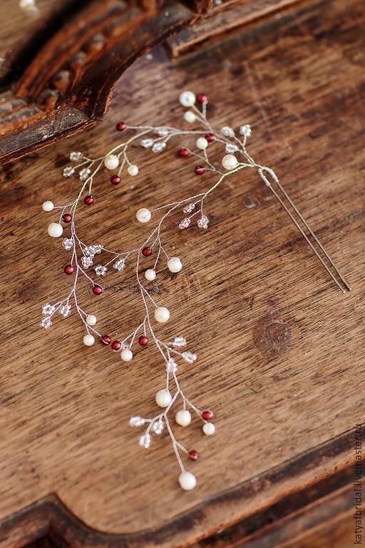 Купить Шпилька в прическу из жемчужных бусин и бисера - белый, свадебное украшение, украшения ручной работы