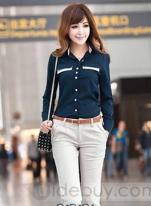 Elegant Slim Long Sleeves Korean New Arrival Blouse