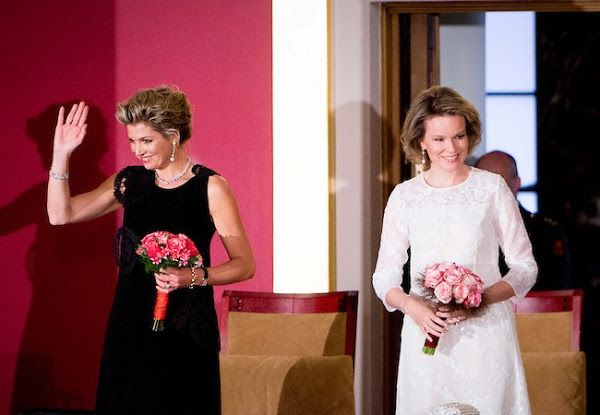 On May 25, 2016, Queen Mathilde of Belgium and Queen Maxima of The Netherlands attend the finals of the Queen Elisabeth piano competition in Palace of Fine Arts, Brussels, Belgium.