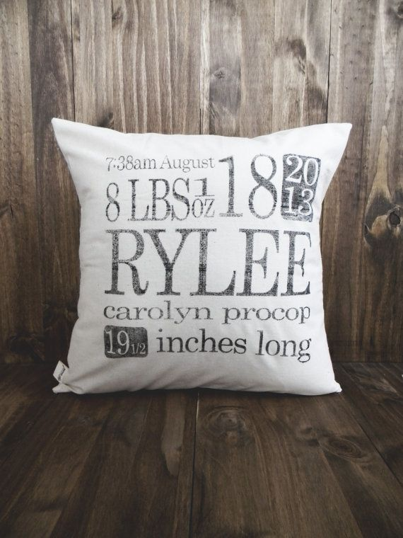 Personalized Birth Stats 16 x 16 Pillow Cover, home decor, present, new baby gift, nursery pillow, newborn, photo prop