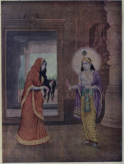 Draupadi_telling_about_the_story_of_her_unfolded_hair_to_Krishna.jpg (400×528)