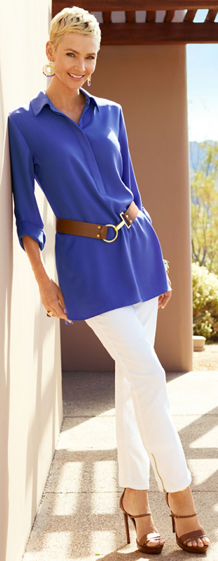 Slimming Secret: Belt a big shirt (relaxed CAN be flattering). #DestinationFabulous #travel #spring #chicos