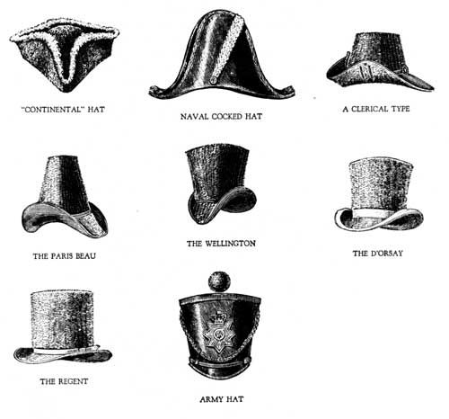 18th century cocked hats-top row ---- 19th century-the rest of the hats which are called stovepipe hats