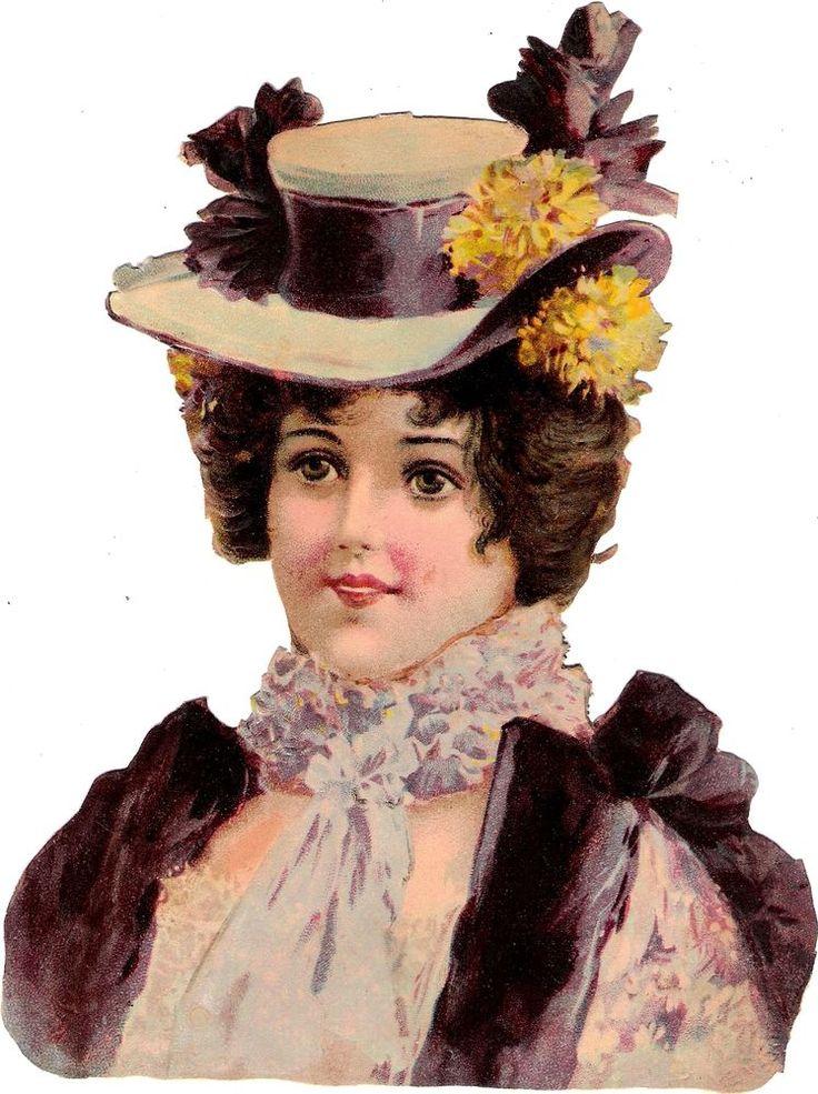 Oblaten Glanzbild scrap die cut chromo Lady Dame XL 19cm buste Portrait femme