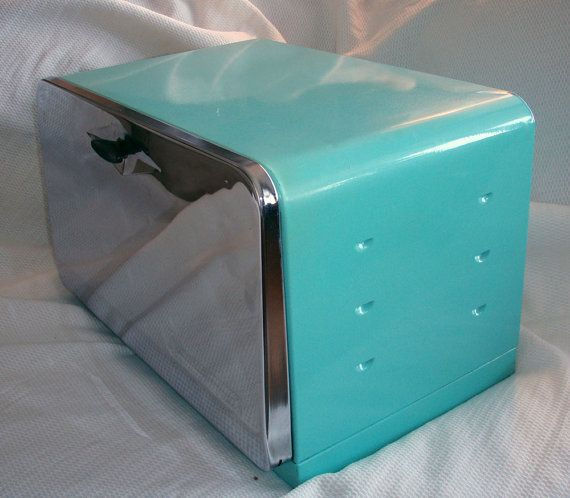 Mid Century Bread Box. Retro Kitchen.. Great Condition. Aquamarine.. 60.00, via Etsy.  Maybe in red