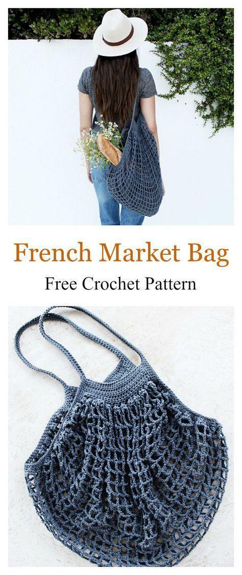 French Market Mesh Bag Free Häkelanleitung #freecrochetpatterns – Stricken