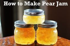 Recipe for Pear Jam. Last year, I made the most delicious pear sauce out of my pear harvest (like applesauce, but with pears). It was so easy, just simmer in a pot, ad a little cinnamon - no sugar necessary. This year maybe I'll try making jam.