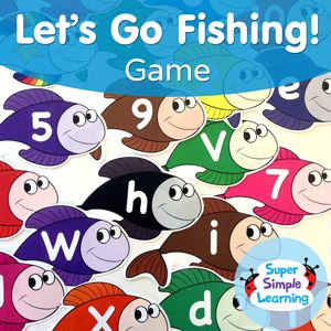 Let's Go Fishing! Game for upper case, lower case and numbers {FREE Resource} | Super Simple Songs