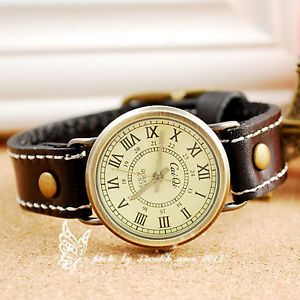 2014 New Style Hand Made Cow Leather Retro Round Dial Women Quartz Watch | eBay