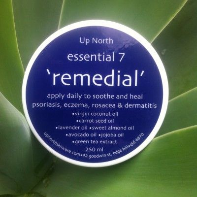 Remedial | Up North Skin Care   A soothing treatment for psoriasis, eczema, rosacea and dermatitis. Relieves irritated, red, itchy, flaky and inflamed skin.  Contains: virgin olive oil, carrot seed oil, lavender, jojoba, sweet almond, avocado oils and green tea extract.  250 ml brown jar