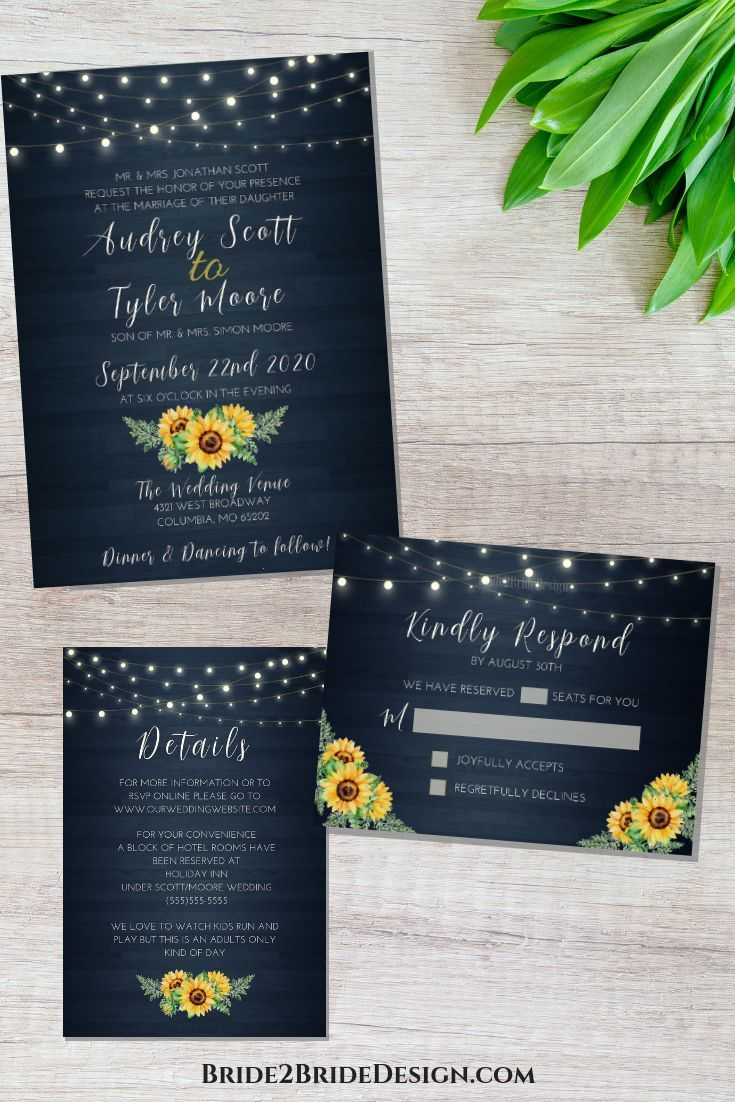 Rustic navy and sunflower wedding invitation suite. Affordable wedding invitations.
