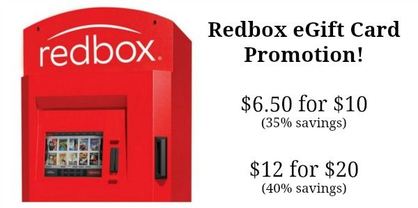 Redbox eGift Card Promotion - $6.50 for $10, $12 for $20!