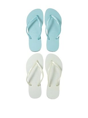 30% OFF Havaianas Unisex Flip Flop - 2 Pack (White/Aqua)