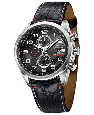 Citizen Watch, Men's Eco-Drive World Chronograph A-T Black Crocodile Leather…