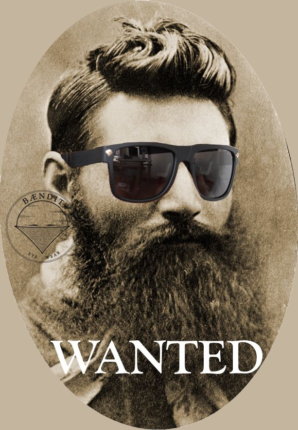 """Most Wanted BAENDIT.... Edward """"Ned"""" Kelly with Ned Kelly Premium Polarized BLACK Edition. Comes with custom see through Black box, Gold plated BAENDIT front logo signature pins and bandanna pouch."""