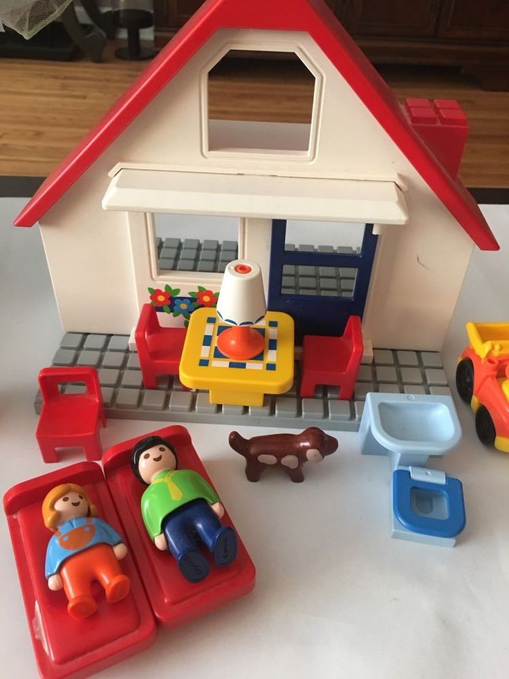 Vintage 1990 Playmobil 123 Doll House Cottage Furniture Family People Figure Lot #PLAYMOBIL