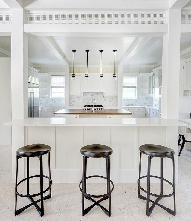 Large White Kitchen Boasts Three Backless Espresso Stained