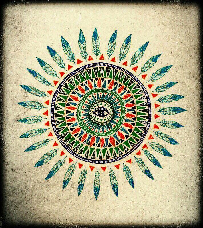 All Seeing Eye Feather Mandala