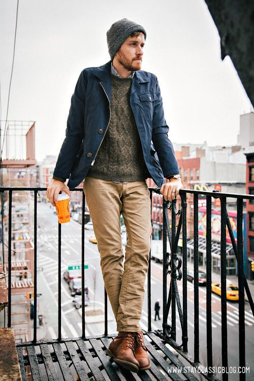 Shop this look for $214: http://lookastic.com/men/looks/jeans-and-boots-and-longsleeve-shirt-and-field-jacket-and-cable-sweater/2681 — Khaki Jeans — Walnut Leather Boots — White and Navy Gingham Longsleeve Shirt — Navy Field Jacket — Dark Brown Cable Sweater