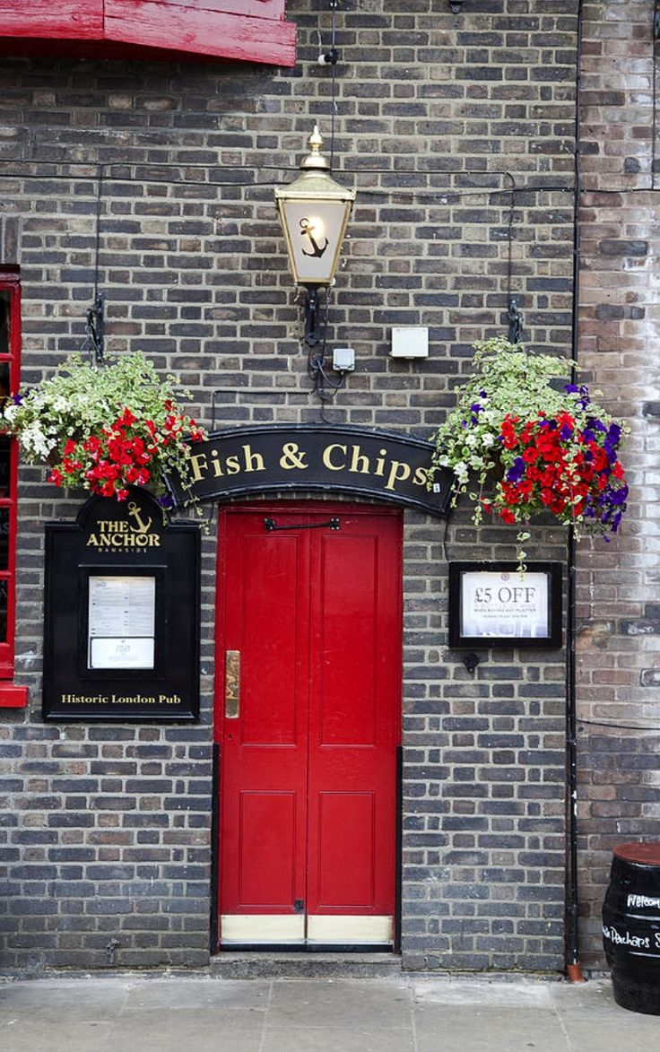 Fish And Chips | The Anchor Pub at Bankside on the River Thames, London, which also doubles up as a fish and chip shop.
