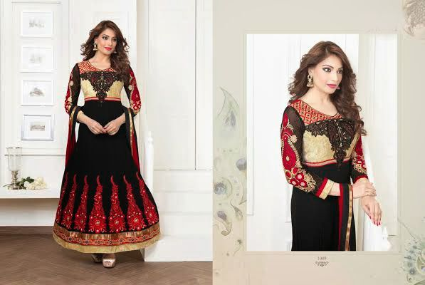 Beautiful Black Georgette anarkali With heavy work of embroidery en-crafted all over. Matching Shantoon Bottom and Black and Red Chiffon Duppatta with fine work of embroidery included.