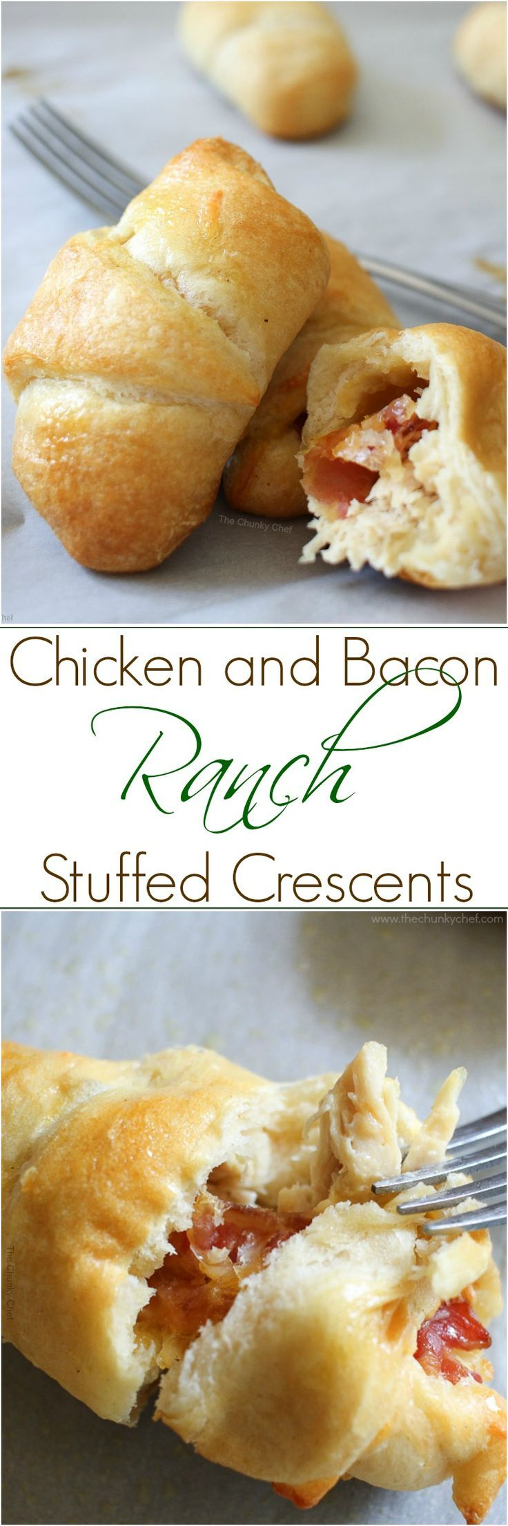 These chicken and bacon ranch stuffed crescent rolls are flaky, buttery and full of flavor!