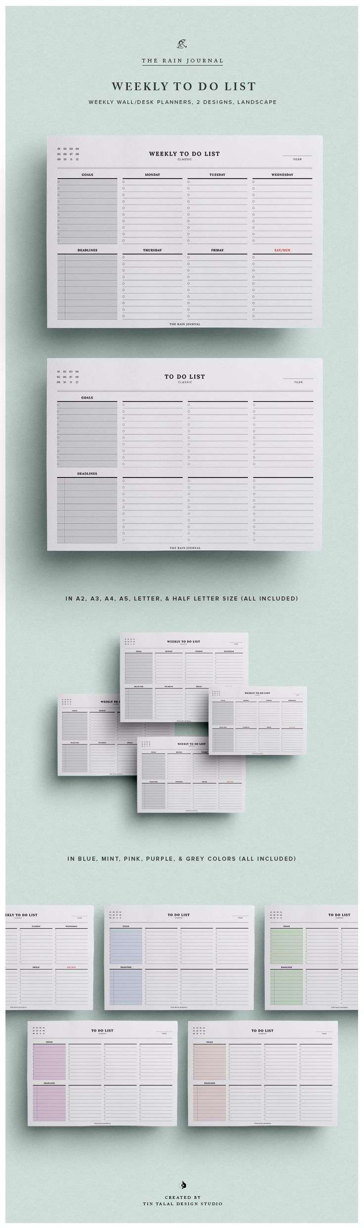 Weekly To Do List Planner - 5 Colors and 2 Designs included. In A4, A5, Letter & Half Letter size. Wall Planner, Desk Planner, DIY Planner, Planner Inserts, Planner Pages.